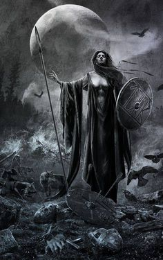 "The Morrigan - Shape-shifting Celtic goddess of War, Fate and Death. She is also called the ""washer at the ford"" because if a warrior sees her washing her armor in the stream, it means he will die that day. The Morrighan often appears in the form of a crow or raven or is seen accompanied by a murder of them. In the Ulster cycle, she is shown as a cow and a wolf too."