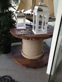 *Cable Reel Repurposed ibto a side end table or a rustic coffee table Cable Reel Table, Wooden Cable Reel, Cable Spool Tables, Wooden Cable Spools, Wood Spool, Upcycled Furniture, Pallet Furniture, Garden Furniture, Furniture Decor