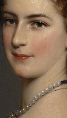 Empress Elisabeth of Austria in Courtly Gala Dress with Diamond Stars (detail), 1865, by Franz Xaver Winterhalter (German, 1805–1873)
