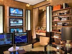 Track every update from Wall Street in this business-minded home office.