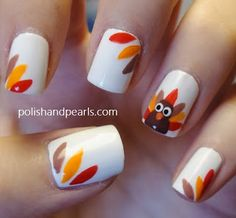 18 Thanksgiving Nail Art Ideas...I like these but maybe only one nail on both hands with the leaves