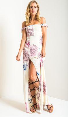 Itsy Bitsy Maxi Dress in Cream