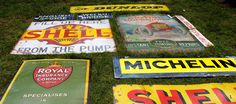 Enamel signs at a vintage fair