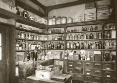 887. W. C. WHITE practiced as a chemist until 1909 and when he died the business passed to his son Charles Edger who was a grocer but not qualified to dispense medicines. The chemist department was abandoned and boarded up behind a locked door, complete with the dispensary and its contents.  Charles