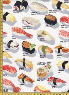 Tkanina Kaufman SUSHI # F - 3645523200 - oficjalne archiwum Allegro Sushi Guide, Sushi Roll Recipes, Types Of Sushi, Onigirazu, Sashimi Sushi, Sushi Love, Healthy Chicken Dinner, Japanese Sushi, Guacamole Recipe