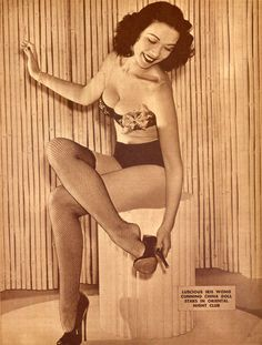 Actress and nightclub dancer Iris Wong (1946)    Watch her fabulous scene with Victor Sen Yung in Charlie Chan in Reno (1939).