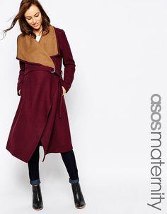 Изображение 1 из Каскадное пальто с ремнем ASOS Maternity