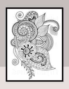 Hand Drawn Zentangle Coloring Page For Grown Ups And Young Enthusiasts Its An Intricate