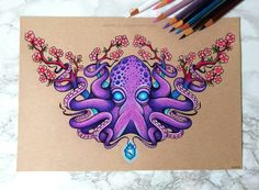 """""""Octopus and Cherry Blossoms""""  By: dannii-jo.deviantart,  #blossoms #cherry #danniijodeviantart #Octopus #octopustattoosleevecolour Kunst Tattoos, Body Art Tattoos, Tattoo Drawings, Art Drawings, Horse Drawings, Octopus Tattoo Sleeve, Octopus Tattoos, Octopus Drawing, Octopus Art"""