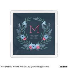 Moody Floral Wreath Monogrammed Tray