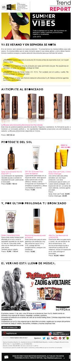 Newsletter Sephora Tema: cremas solares Junio 2013 Crema Solar, Sephora, Marketing, June, Advertising