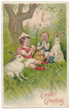 RESERVED FOR JILL.    DO NOT BUY UNLESS YOU ARE JILL.    Sweet scene on this Easter postcard shows two little kids enjoying a woodland picnic with