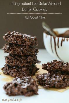 4 ingredient dark chocolate almond butter cookies - gluten free vegan | Eat Good 4 Life