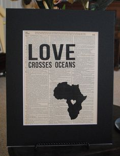 Love Crosses Oceans (DRC- Democratic Republic of Congo) - Vintage Adoption Word Art $15 Perfect for adoptive families or those involved in missions work.