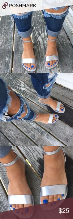 BNWT Sliver Old Navy Sandals Don't see your size tag me with your size. Brand New only worn to take pictures above. They do not come with tags. These sandals will add that extra touch to any sandal. Fits true to size. NO TRADES Old Navy Shoes Sandals