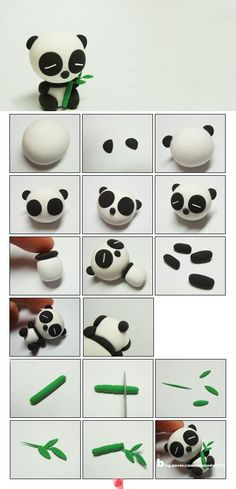 clay or marzipane panda tutorialpâte fimo Awh this is too cute xxx: # Eye shadow and eye colors # make-up # adjustment. Tuto Amigurumi – Sam the little bear –.Awh c& trop mignon xxx:Most inspiring pictures and photos!Panda - how to make a panda Polymer Clay Kunst, Polymer Clay Animals, Cute Polymer Clay, Cute Clay, Fimo Clay, Polymer Clay Projects, Polymer Clay Charms, Polymer Clay Creations, Clay Crafts