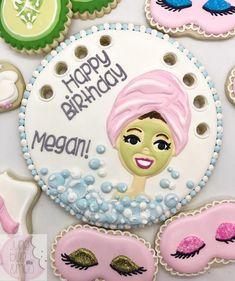 "81 Likes, 14 Comments - June Bug & Moo (@junebugandmoo) on Instagram: ""Spa birthday cookie cake top! #junebugandmoo #decoratedcookies #sugarcookies #austincookies…"" spa"