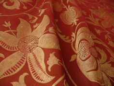 "100% SILK LAMPAS FAIRY TALE POM ""RUSSET"" RED"