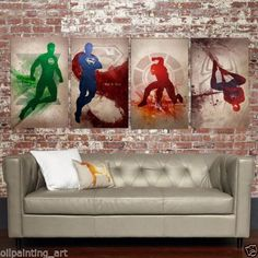 Hot selling Hand painted Modern oil painting on canvas Superheroes 4pcs(Unframed)  s I500-in Painting & Calligraphy from Home & Garden on Aliexpress.com | Alibaba Group