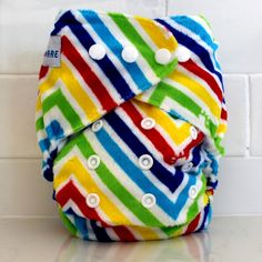 Our signature Rainbow Print from Baby Bare Cloth Nappies