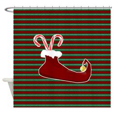 Elf shoes /socks with sugar cane - holiday shower curtain Elf Shoes, Sock Shoes, Holiday Shower Curtains, Special Day, Socks, Sugar, Halloween, Design