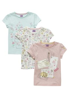 Clothing at Tesco   F&F 3 Pack of Floral Print T-Shirts > tops > Tops & T-shirts > Kids