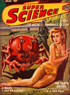 Super Science Stories, art by Lawrence Sterne Stevens. The prototypical bug eyed monster or BEM.