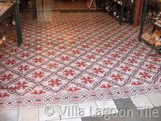 Antique Cement Tiles and Photo Tours Black Laminate Flooring, Tile Edge, Floors And More, Cement Walls, Antique Tiles, Tile Installation, Historic Homes, French Antiques, Images