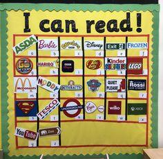 EYFS reading display, linked to alphabet sounds. Literacy Display, Phonics Display, Alphabet Display, Reading Display, Classroom Displays Eyfs, Eyfs Classroom, Superhero Classroom, Science Classroom, Book Corner Eyfs