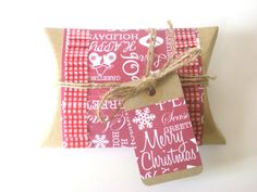 Christmas Gift Box Red Kraft Pillow Box Festive by jujucards, £1.50
