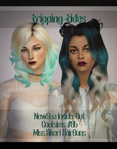 Since so many people requested these, here is one version of my dip dye summer hair and a new dip dyed hair with matching hair buns by MissTiikeri that I recoloured. Hope you like it! D O W N L O A D meshes are included :)! Funky Hairstyles, Summer Hairstyles, The Sims, Sims 4, Dip Dye Hair, Dip Dyed, Dipped Hair, Sims 2 Hair, Instant Face Lift