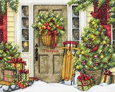 Dimensions - Home for the Holidays Counted Cross Stitch Kits, Cross Stitch Embroidery, Needlepoint Patterns, Embroidery Patterns, Christmas Cross, Christmas Holidays, Christmas Porch, Christmas Decorations, Xmas Ornaments