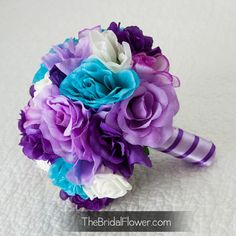 Purple, turquoise (malibu blue) and lavender large bridal bouquet with hydrangeas, lilies and roses on Etsy, $105.00