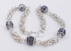 Silver Chainmaille Necklace, Silver Filled, Byzantine, Purple Beads