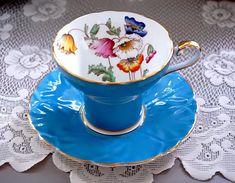 Aynsley Corset Tea Cup and Saucer, Blue Floral Teacup with Poppies, English Tea Cup Set w Flowers, M Antique Tea Sets, Or Antique, Tea Cup Set, Tea Cup Saucer, English Tea Cups, Teapots And Cups, China Tea Cups, High Tea, Tea Time