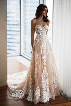 Gorgeous Embroidered Strapless Sweetheart Tan A-Lane Wedding Dress / Bridal Gown with a Train. Dress by Natalia Romanova Gorgeous Embroidered Strapless Sweetheart Tan A-Lane Wedding Dress / Bridal Gown with a Train. Dress by Natalia Romanova Wedding Dress Empire, Wedding Dress Trends, Dream Wedding Dresses, Bridal Dresses, Wedding Gowns, Wedding Dress Princess, Sweetheart Wedding Dress, Gorgeous Wedding Dress, Princess Peach