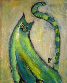 Morning Stretch - small painting, cat, silly, green, yoga, acrylic, canvas, ready to hang