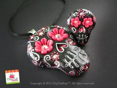 SKULLS Day of the dead Rings hair clips rings by ClayCat on Etsy, $48.00