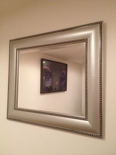 Beaded stainless mirror large square