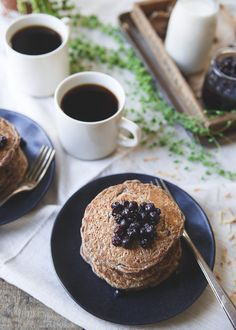 These cinnamon raisin oat bran pancakes have a combination of oat bran and buckwheat for a hearty texture with a touch of nutty toasted coconut. Top with your favorite fruit compote for a deliciously healthy start to your day.