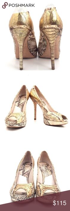 """Christian Dior Fango Heels Dior open toe snake skin heels size 8 with a 5"""" heel. The upper back of 1 heel is faded, peeling. Not noticeable unless close up. Excellent condition, except what is mentioned. Additional pics in separate listing. Christian Dior Shoes Heels"""