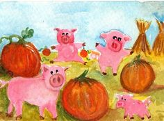 Pigs in pumpkin field Original Watercolor by SharonFosterArt, $15.00