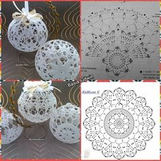 Crochet Patterns Christmas Photo only. No pattern - Salvabrani - SalvabraniAnges au crochet Plus - SalvabraniWedding Table Centerpiece Crochet Candle Holders by VasilisaSkaska - SalvabraniBeautiful eggs with crochet - SalvabraniBeautiful Crochet bells, se Christmas Tree Hooks, Crochet Christmas Decorations, Christmas Crochet Patterns, Crochet Ornaments, Crochet Christmas Ornaments, Crochet Decoration, Holiday Crochet, Christmas Baubles, Christmas Crafts