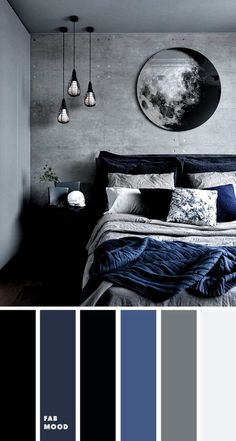 15 earth tone color palettes for bedroom : grey and dark blue bedroom , grey and blue bedroom bedroom color ideas, color schemes, color combos , home color decor ideas color schemes for couples Grey Bedroom Colors, Dark Blue Bedrooms, Bedroom Colour Palette, Bedroom Color Schemes, Black Rooms, Dark Cozy Bedroom, Peaceful Bedroom, Bedroom Decor For Couples, Couple Bedroom