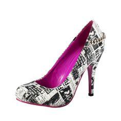 High Heel Shoes | ... Womens › T.U.K. Shoes › T.U.K. Shoes Sky High Heel Punk Newsprint