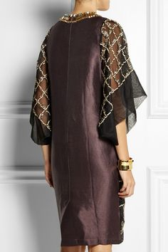 BIYAN Lucy embroidered organza dress| Grape satin-twill back for structure | Kimono sleeves | £1,360
