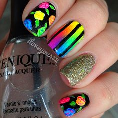 Random painted nail designs. love the fading striped rainbow one, it should be a design all by itself