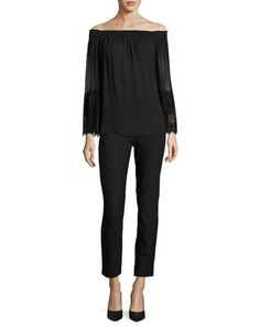 Veruka+Off-the-Shoulder+Silk+Blouse+&+Marcia+Slim-Fit+Ankle+Pants+by+Kobi+Halperin+at+Neiman+Marcus.