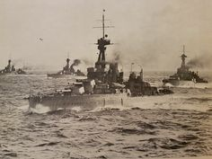 The super-Dreadnoughts Orion, Conqueror, Thunderer, and Monarch on a North Sea sweep in 1918.
