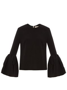 Truffaut bell-sleeve stretch-cady top